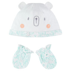 Ensemble with cap with ears and printed mittens
