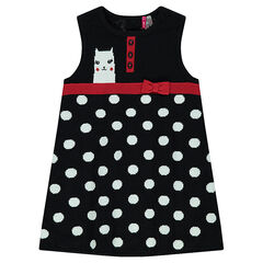 Sleeveless knit dress with allover polka dots
