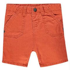 Plain-colored twill bermuda shorts
