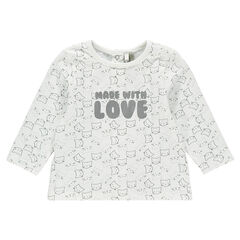 Long-sleeved tee-shirt with allover printed message