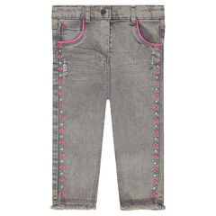 Slim jeans with embroidered frieze