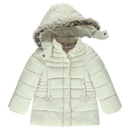 Quilted down coat with removable hood and sherpa lining