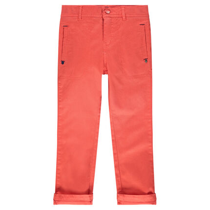 Plain-colored twill pants with pockets