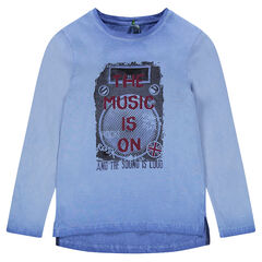 Junior - Long-sleeved overdyed tee-shirt with print