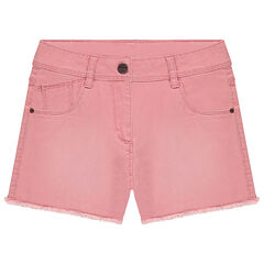 Junior - Used-effect overdyed twill shorts with a cut finish
