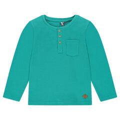 Long-sleeved, honeycombed tee-shirt with a Tunisian collar