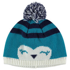 Knit cap with animal motif and pompom