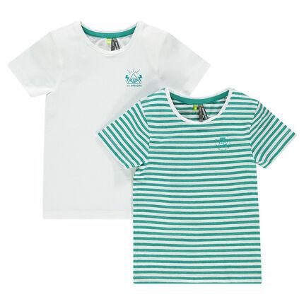 Set of 2 short-sleeved striped/plain-colored tee-shirts