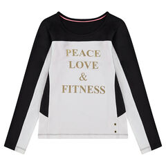 Junior - Long-sleeved two-tone tee-shirt with a printed text