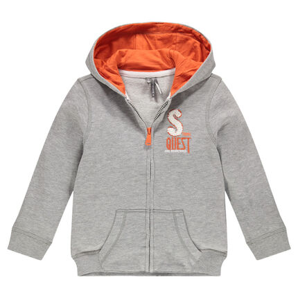 Hooded, fleece, zipped jacket with terry loop knit writing