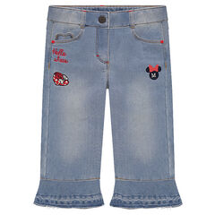Used denim-effect capri pants with Disney Minnie Mouse embroidery