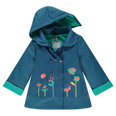 Rubber windbreaker with removable hood, polka dots and decorative print