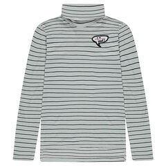 Junior - Thin striped turtleneck sweater with badge