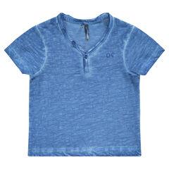 Short-sleeved tee-shirt with Tunisian collar
