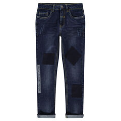 Junior - Used-effect jeans with patches and printed message