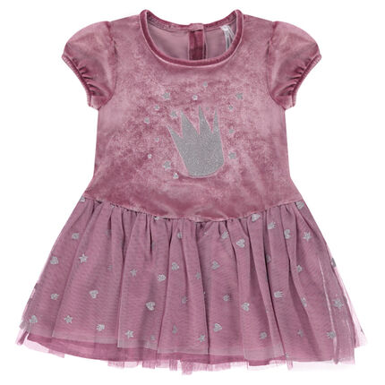 Short-sleeved bi-material dress with tulle featuring sparkly motifs