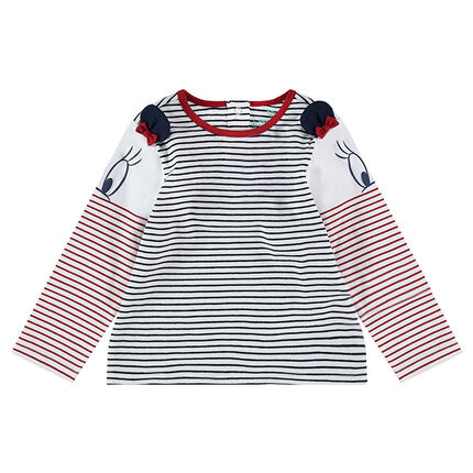 Long-sleeved tee-shirt with allover stripes and ©Disney Minnie Mouse ears