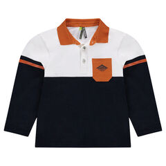 Two-tone long sleeve polo shirt with patch pocket