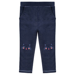 Fleece jeggings with embroidered cats