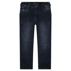 Distressed and crinkled-effect regular fit jeans with jersey lining