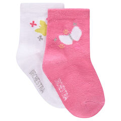 Lot de 2 paires de chaussettes assorties motif papillon
