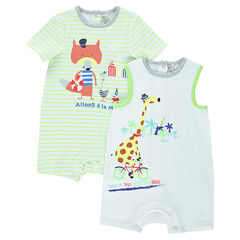 Set of 2 jersey playsuits with printed animals