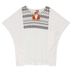 Junior - Kimono tunic with ethnic print and pompom