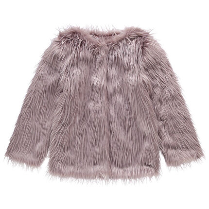 Junior - Satin-lined fake fur jacket