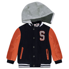 Bi-material letterman-style jacket with removable hood
