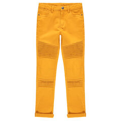 Junior - Overdyed twill pants with pleats and topstitching