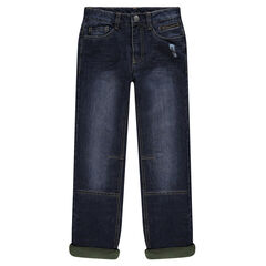 Junior - Used and crinkled-effect regular fit jeans