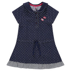 Light fleece dress with allover polka dots