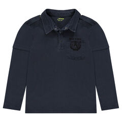 Junior - Long-sleeved 2-in-1 effect polo shirt with tiger print