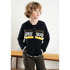 Junior - Hooded cardigan with jacquard bands and message