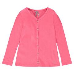 Junior - Plain-colored, rib knit cardigan