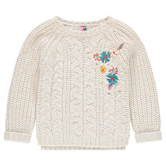 Embroidered chunky knit sweater