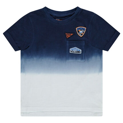 Short-sleeved tie-and-dye effect jersey tee-shirt
