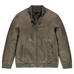 Junior - Jacket in imitation leather with zipped pockets