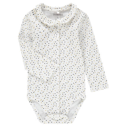 Long-sleeved jersey bodysuit with a Peter Pan collar and polka dot print