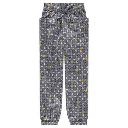 Junior - Polyester crepe pants with an allover graphic print
