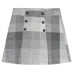 Checkered skirt with a double snap-fastened opening