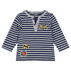 Long-sleeved striped tee-shirt with Batman badges