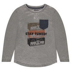 Junior - Faded jersey long sleeve t-shirt with vintage print