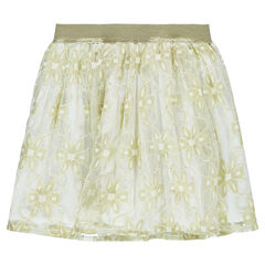 Frilled skirt with golden lace flowers