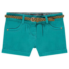 Twill shorts with removable braided belt