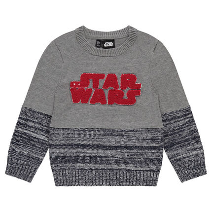 Knit sweater with Star Wars™ in French terry letters