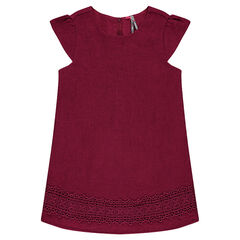 Burgundy dress with lace yoke