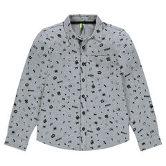 Junior - Long-sleeved shirt with an allover print.