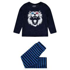 Velvet pajamas with a lion print