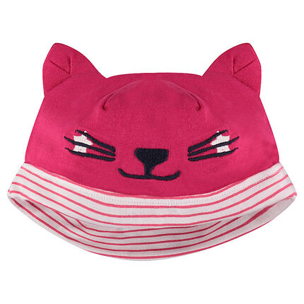 Jersey beanie with cat ears in relief and embroidered details